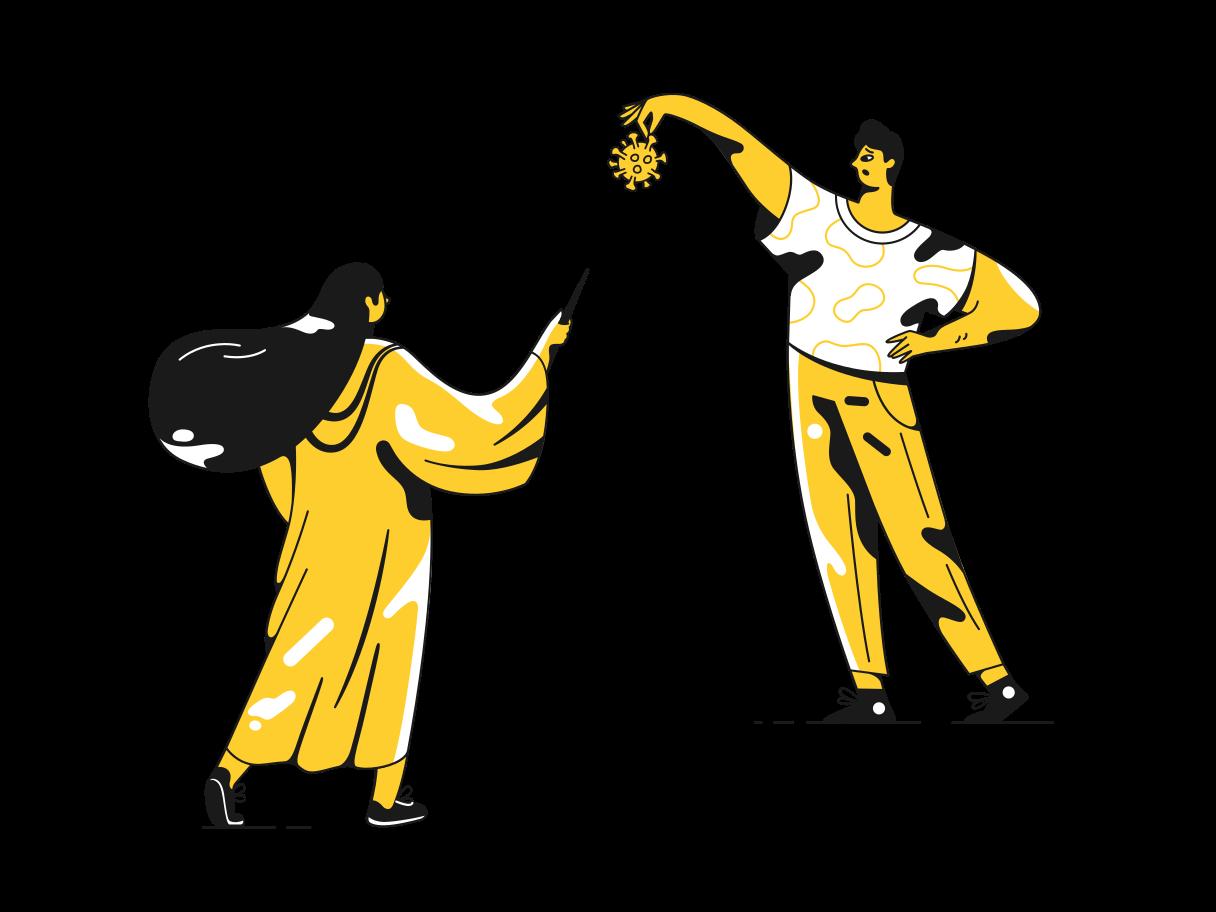 Ilustración de clipart de Destroy and defeat coronavirus en PNG, SVG