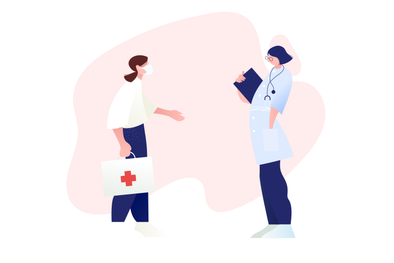 Doctors on the distance Clipart illustration in PNG, SVG