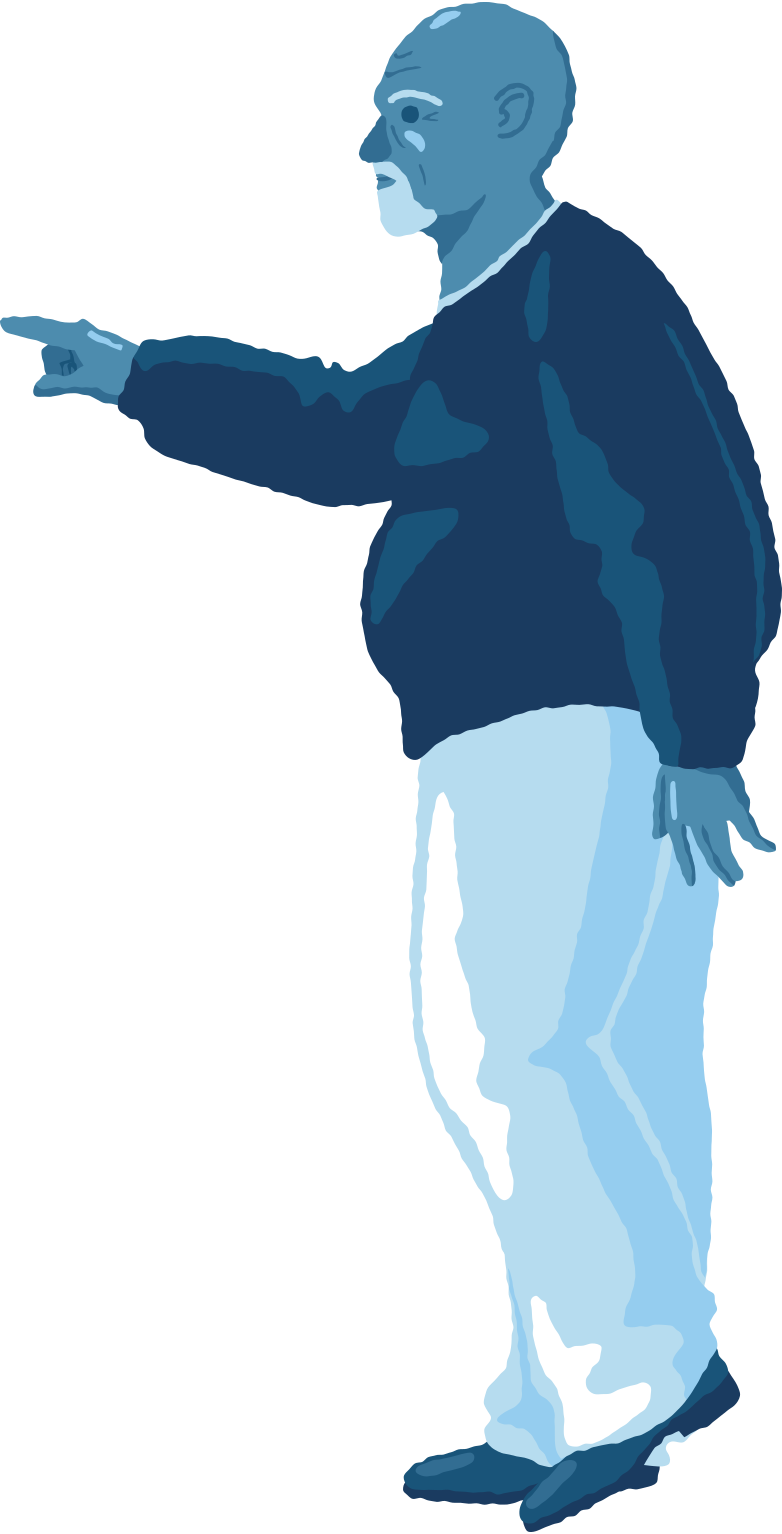 old chubby man pointing profile Clipart illustration in PNG, SVG