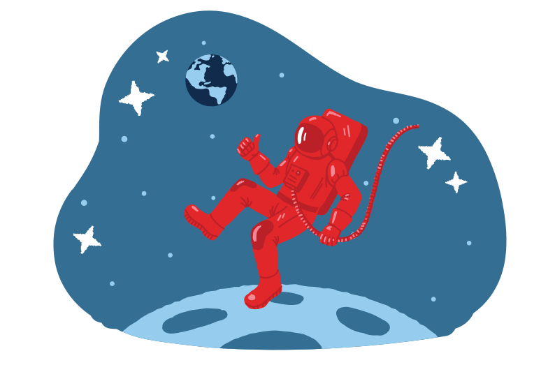 Walking on the moon Clipart illustration in PNG, SVG