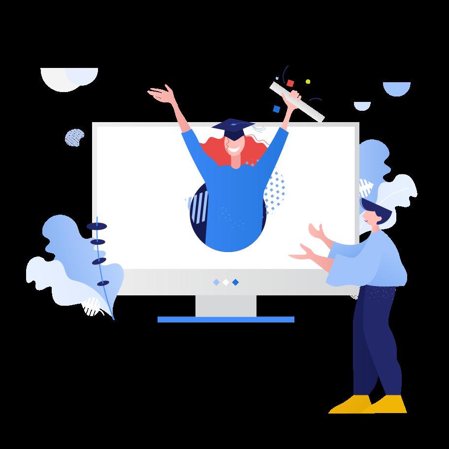 Graduation online  Clipart illustration in PNG, SVG
