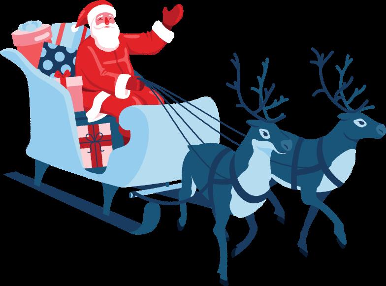 Ilustración de clipart de santa en trineo con renos en PNG, SVG