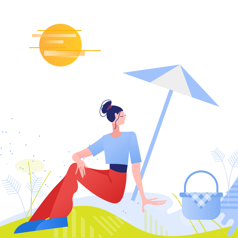 Woman on a picnic Clipart illustration in PNG, SVG