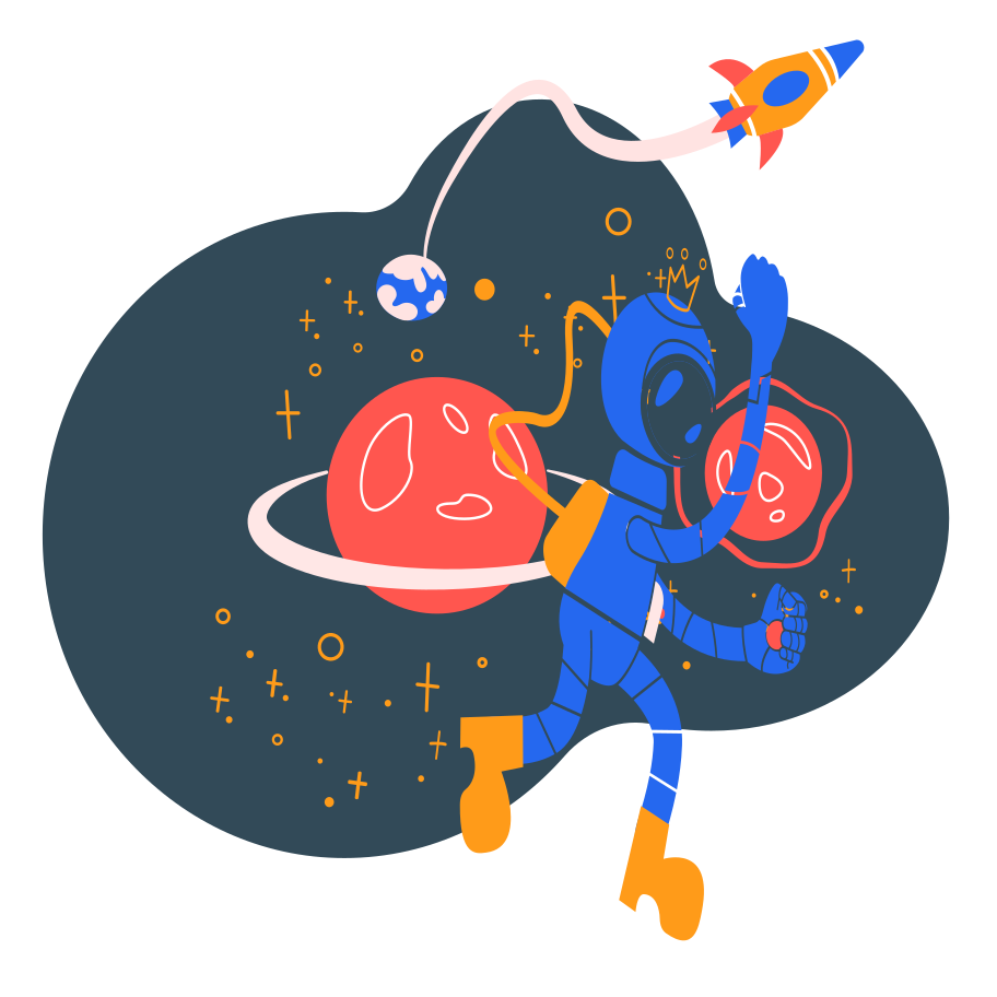Spaceman going away Clipart illustration in PNG, SVG
