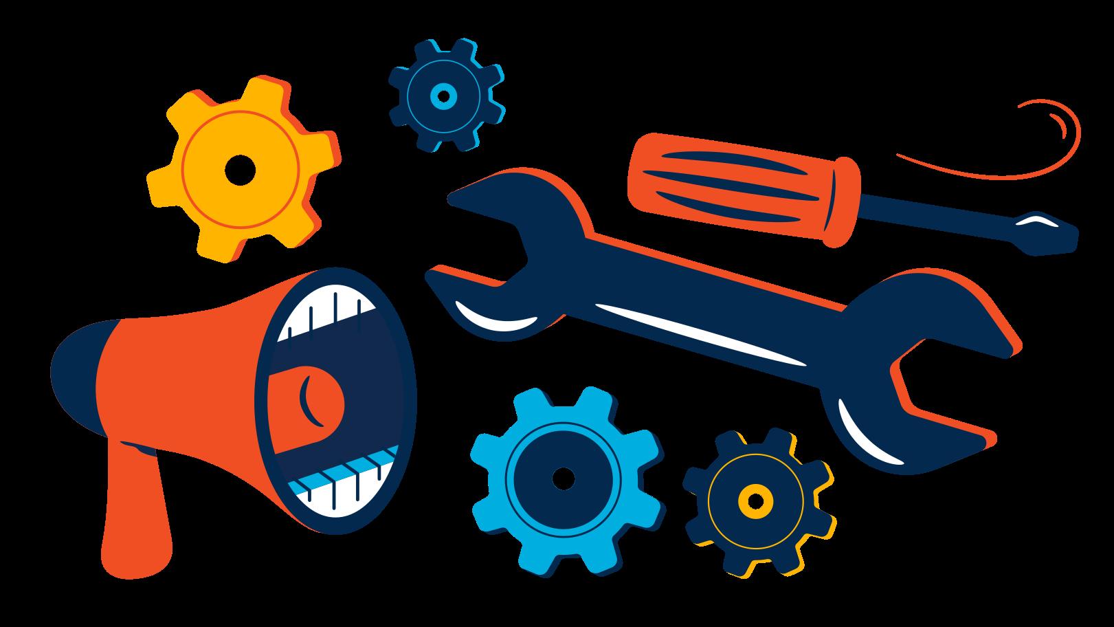 Equipment repair advertisement Clipart illustration in PNG, SVG