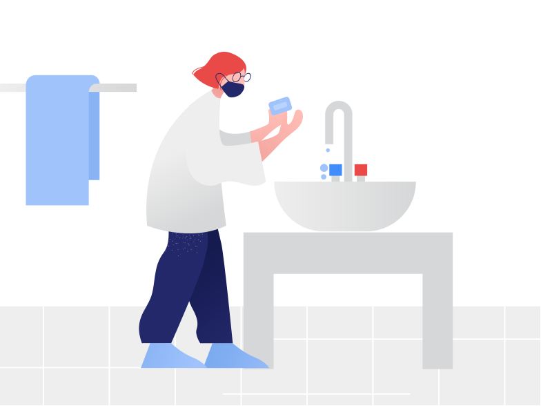 Girl washes hands Clipart illustration in PNG, SVG