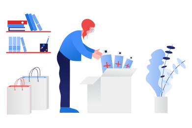 style Woman preparing stock of antiseptics images in PNG and SVG | Icons8 Illustrations