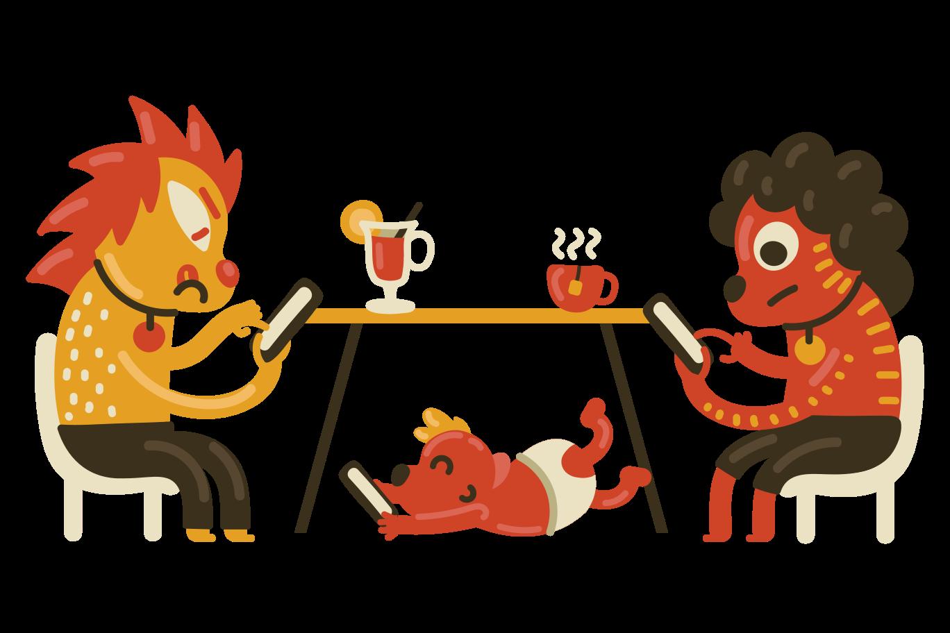 Smartphone addiction Clipart illustration in PNG, SVG