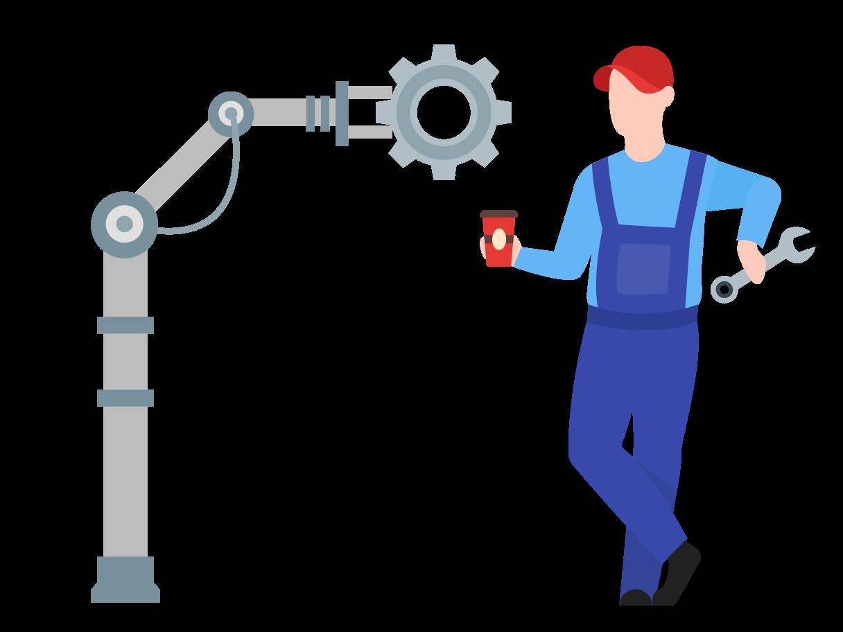 Mechanic takes break Clipart illustration in PNG, SVG