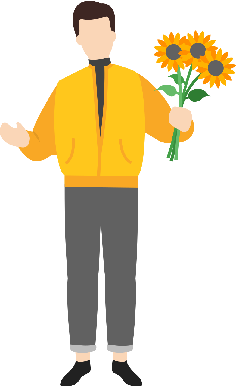 man with flowers Clipart illustration in PNG, SVG