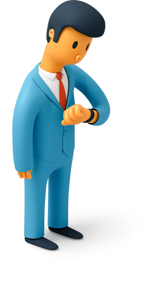Businessman looking at wristwatch Clipart illustration in PNG, SVG