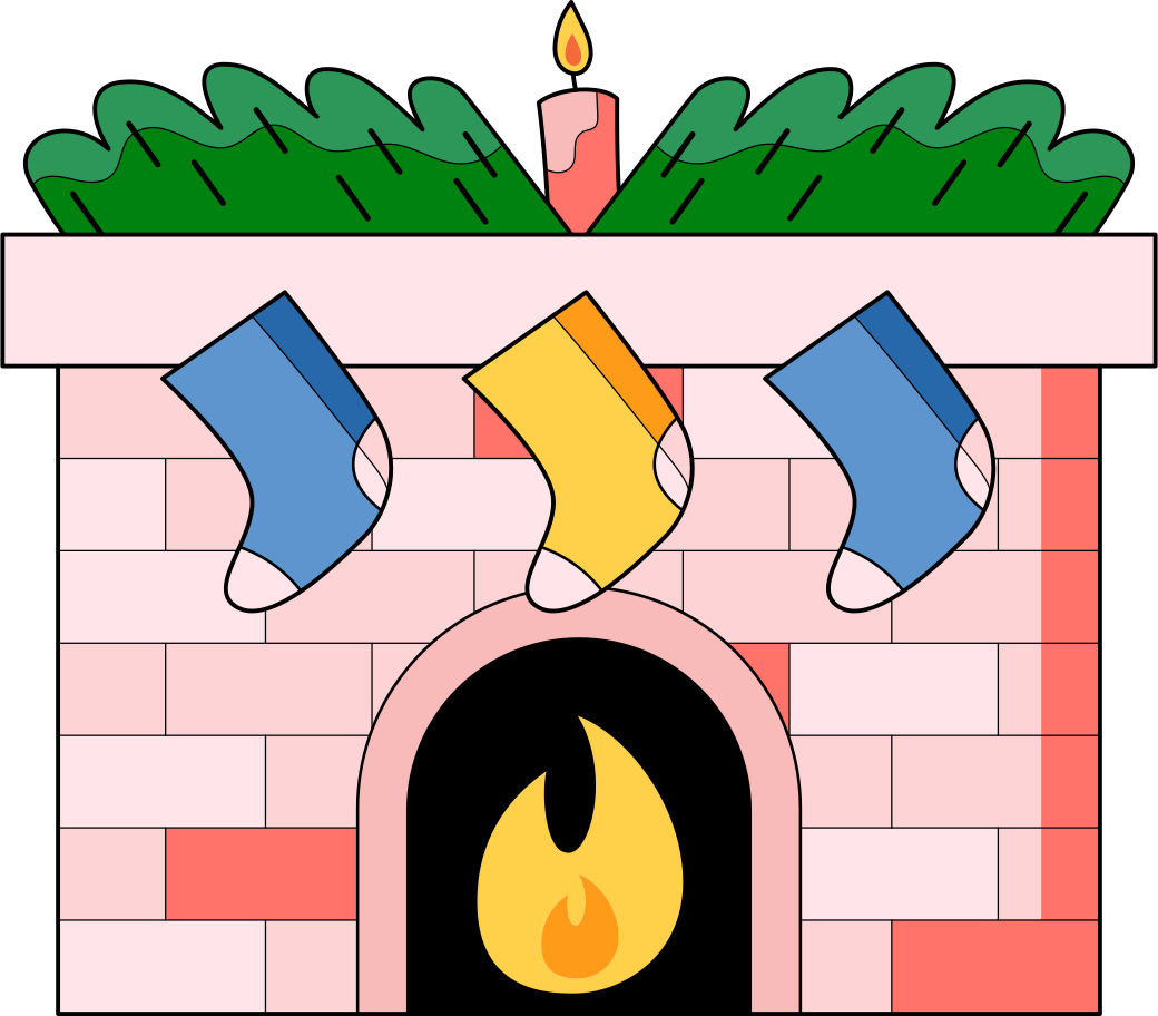 xmas fireplace Clipart illustration in PNG, SVG