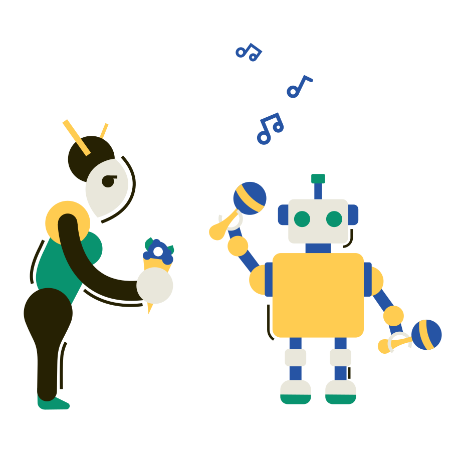 Robot musician Clipart illustration in PNG, SVG