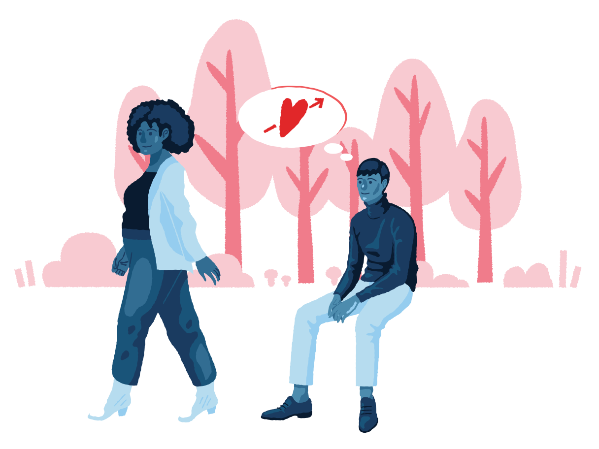 Falling in love with a stranger Clipart illustration in PNG, SVG