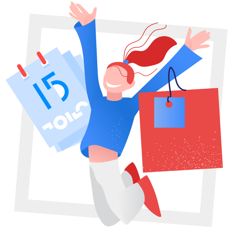 Delivery in time - satisfied customer Clipart illustration in PNG, SVG