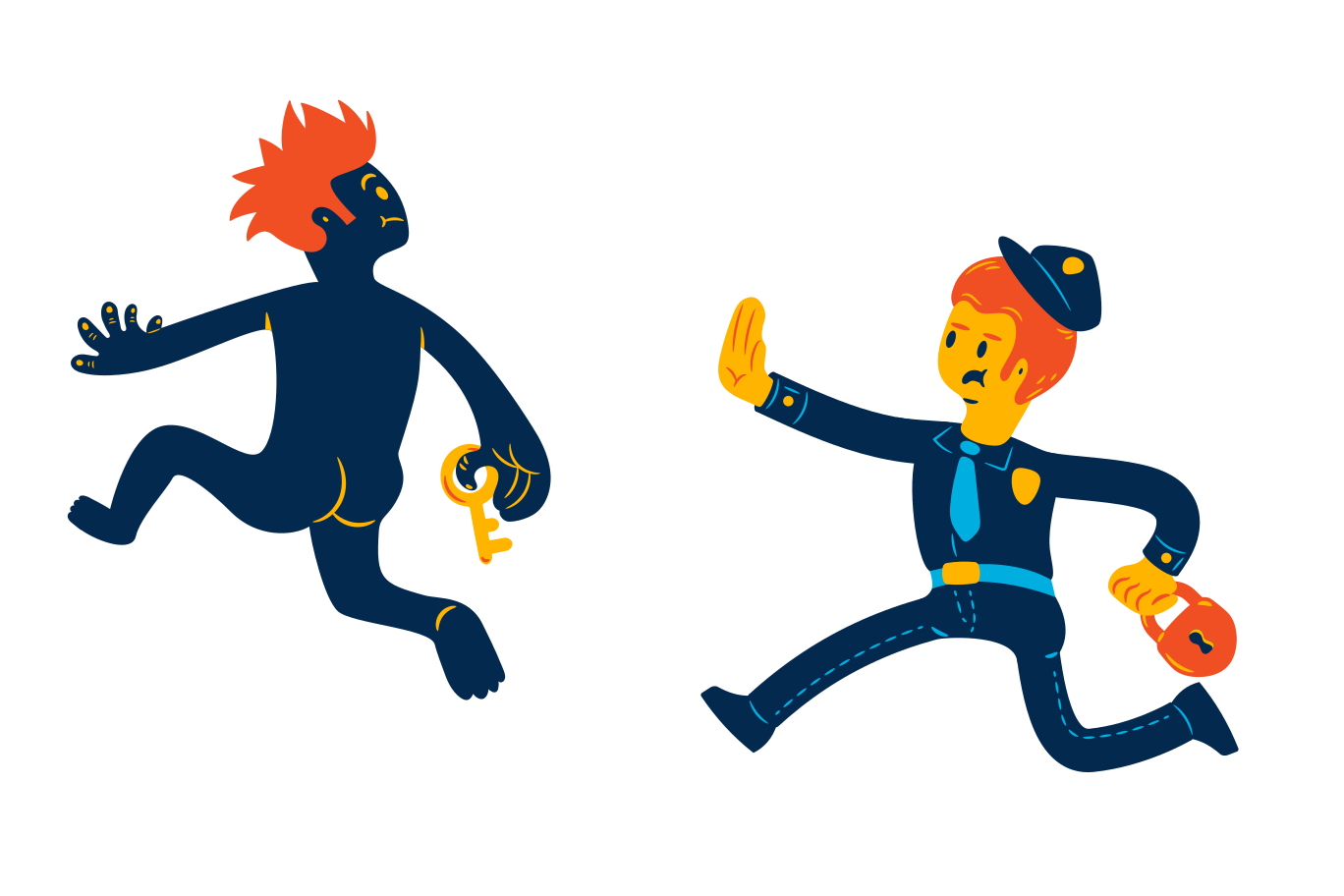 Chasing the thief Clipart illustration in PNG, SVG