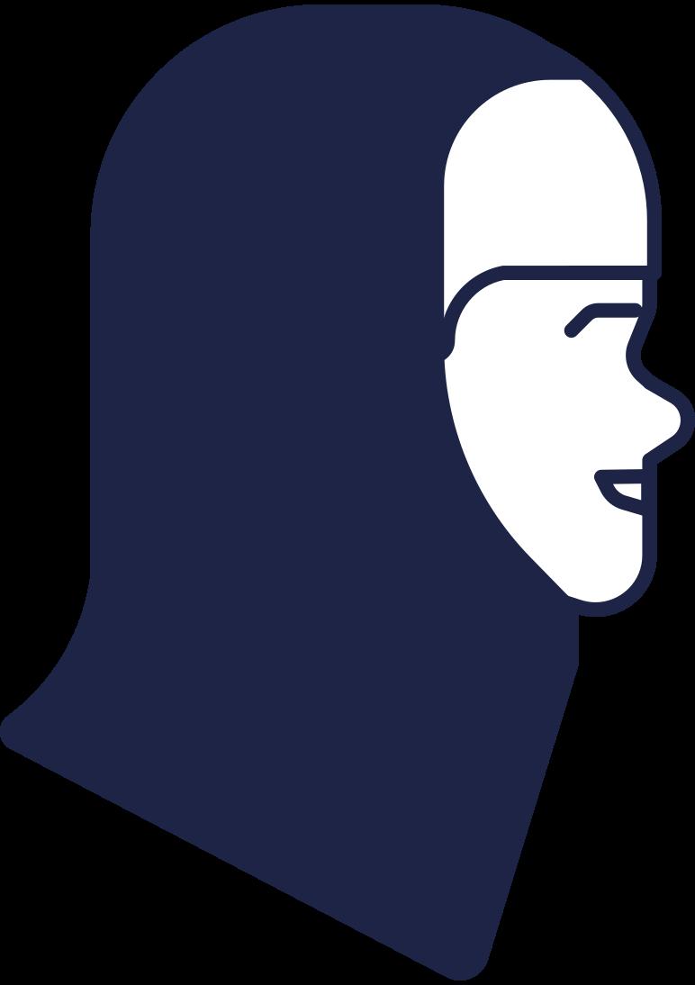 Ilustración de clipart de cabeza de mujer en hijab en PNG, SVG