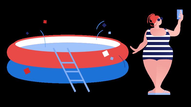 Poolside selfie Clipart illustration in PNG, SVG