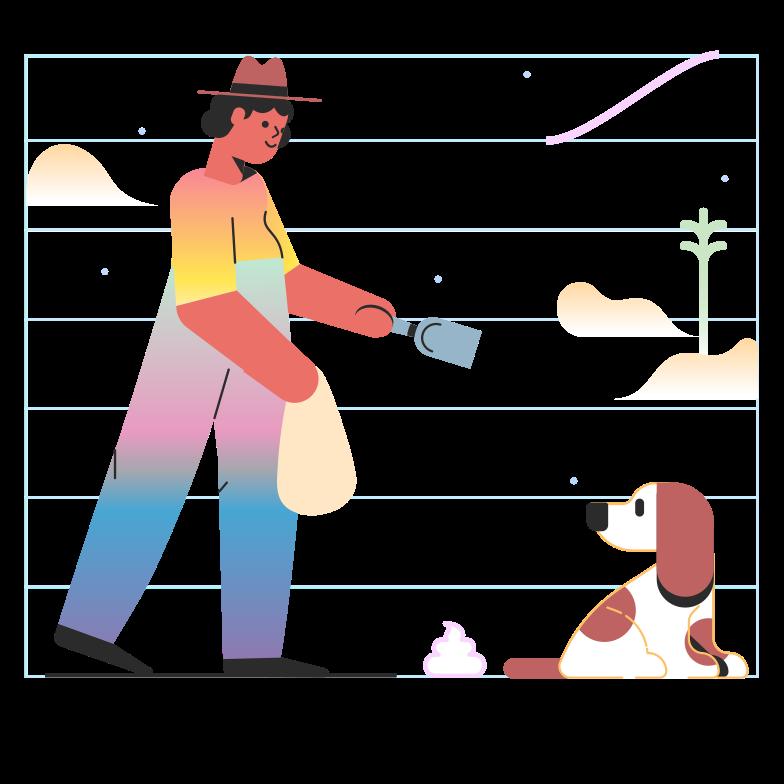 Imágenes vectoriales Limpiar después de un perro en PNG y SVG estilo  | Ilustraciones Icons8