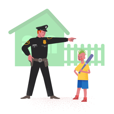 style Policeman with bully boy images in PNG and SVG | Icons8 Illustrations