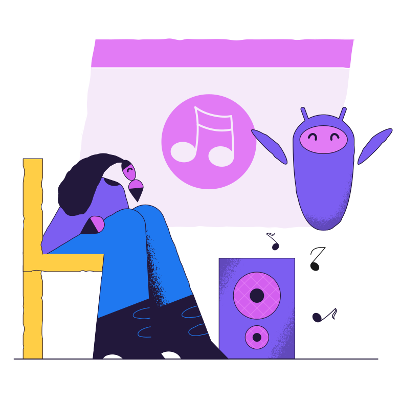 Music control with electronic assistant Clipart illustration in PNG, SVG
