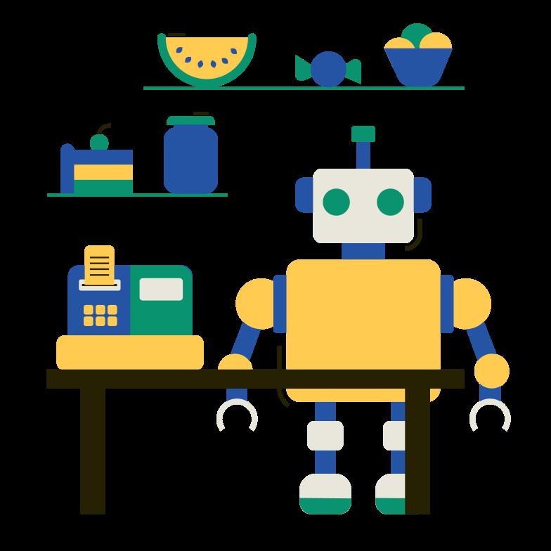 Robot cashier Clipart illustration in PNG, SVG