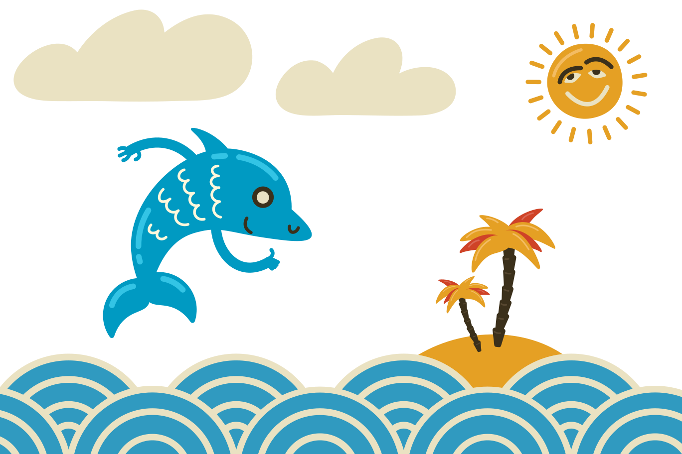 Happy dolphin jumping high Clipart illustration in PNG, SVG