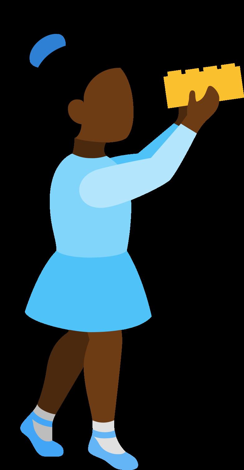 Mädchen mit bausteinen Clipart-Grafik als PNG, SVG