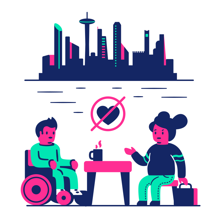 Unsuccessful date in the city Clipart illustration in PNG, SVG