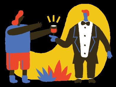 Иллюстрация Подается вино в стиле  в PNG и SVG | Icons8 Иллюстрации