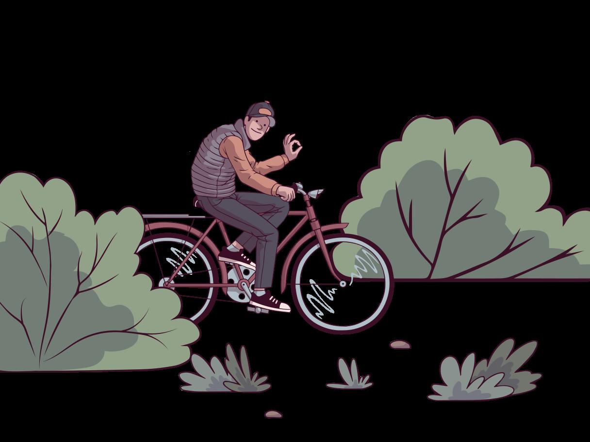 Walk on the bike Clipart illustration in PNG, SVG