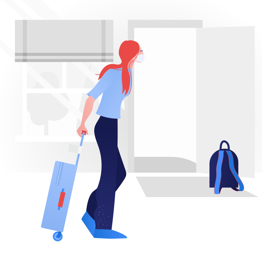 Woman going on a trip.  End of quarantine Clipart illustration in PNG, SVG