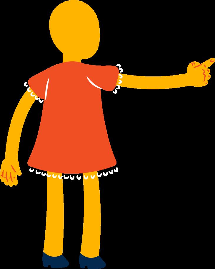 Ilustración de clipart de chica apunta hacia atrás en PNG, SVG