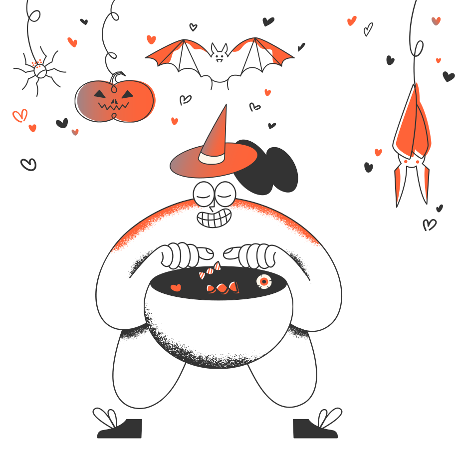 Trick or treat! Clipart illustration in PNG, SVG