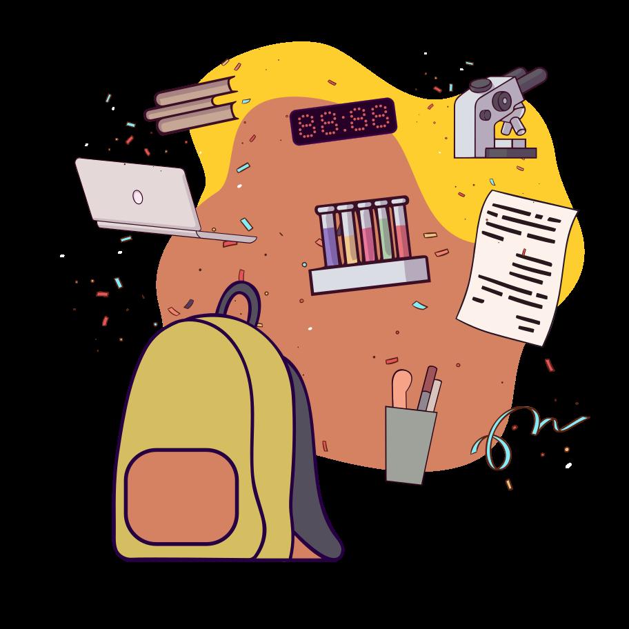 Illustration clipart sac d'école aux formats PNG, SVG