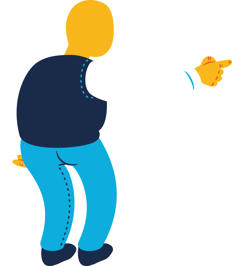 chubby old man pointing back Clipart illustration in PNG, SVG