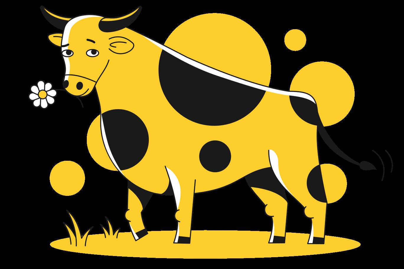 Bull with flower Clipart-Grafik als PNG, SVG