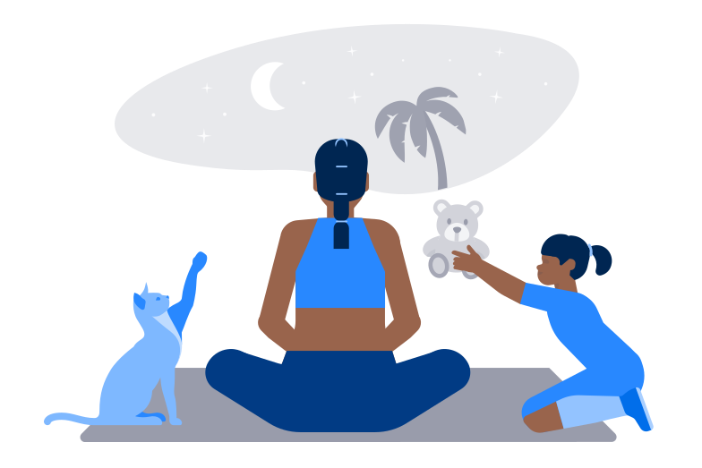 Trying to meditate Clipart illustration in PNG, SVG