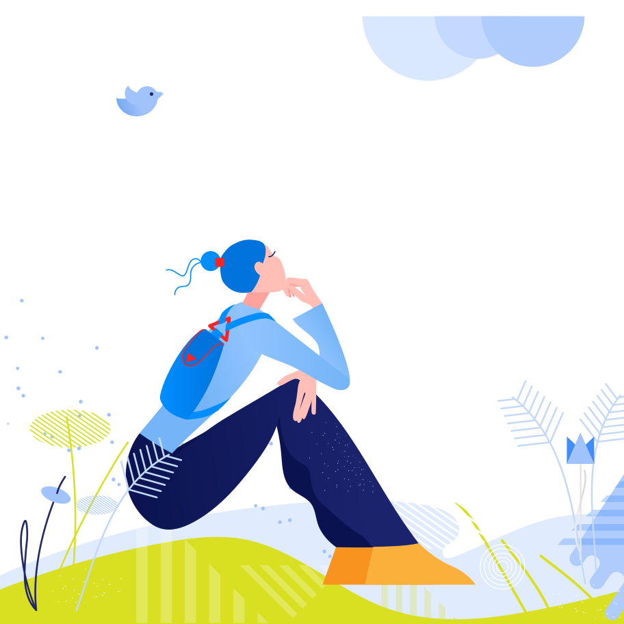 Woman resting on nature Clipart illustration in PNG, SVG