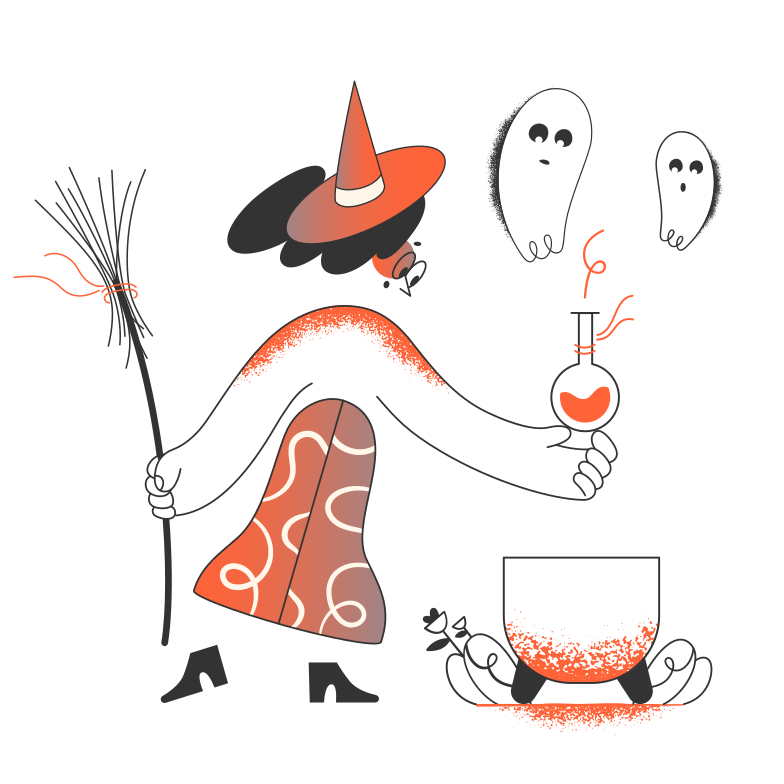 style Witch with ghost potion Vector images in PNG and SVG | Icons8 Illustrations