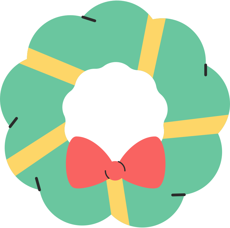 christmas wreath simple Clipart illustration in PNG, SVG