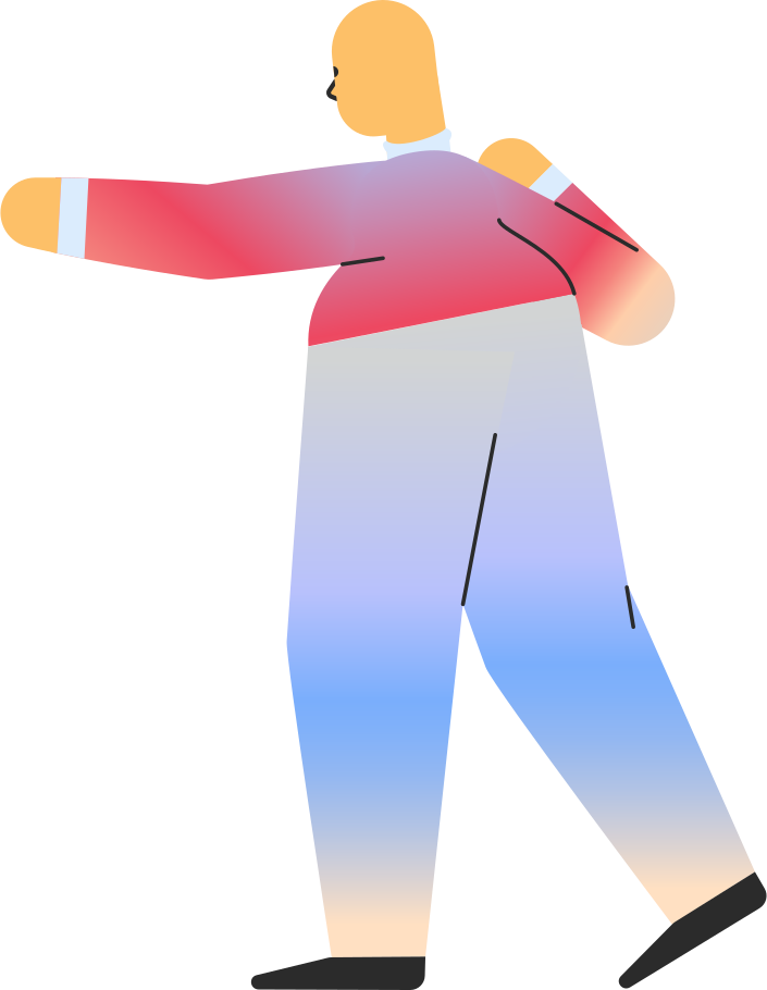 chubby adult pointing back Clipart illustration in PNG, SVG