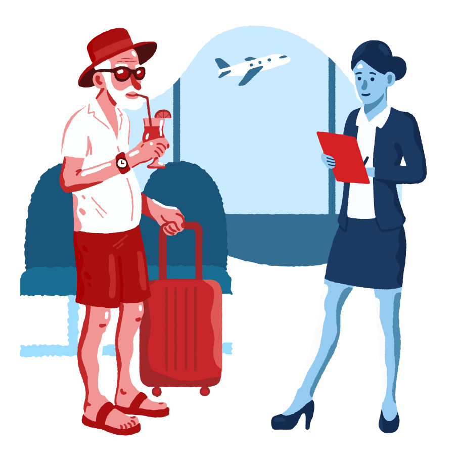 Boarding on a plane Clipart illustration in PNG, SVG