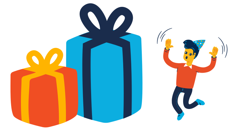 Man received a very big gift Clipart illustration in PNG, SVG
