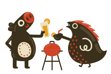 style BBQ with friend images in PNG and SVG | Icons8 Illustrations