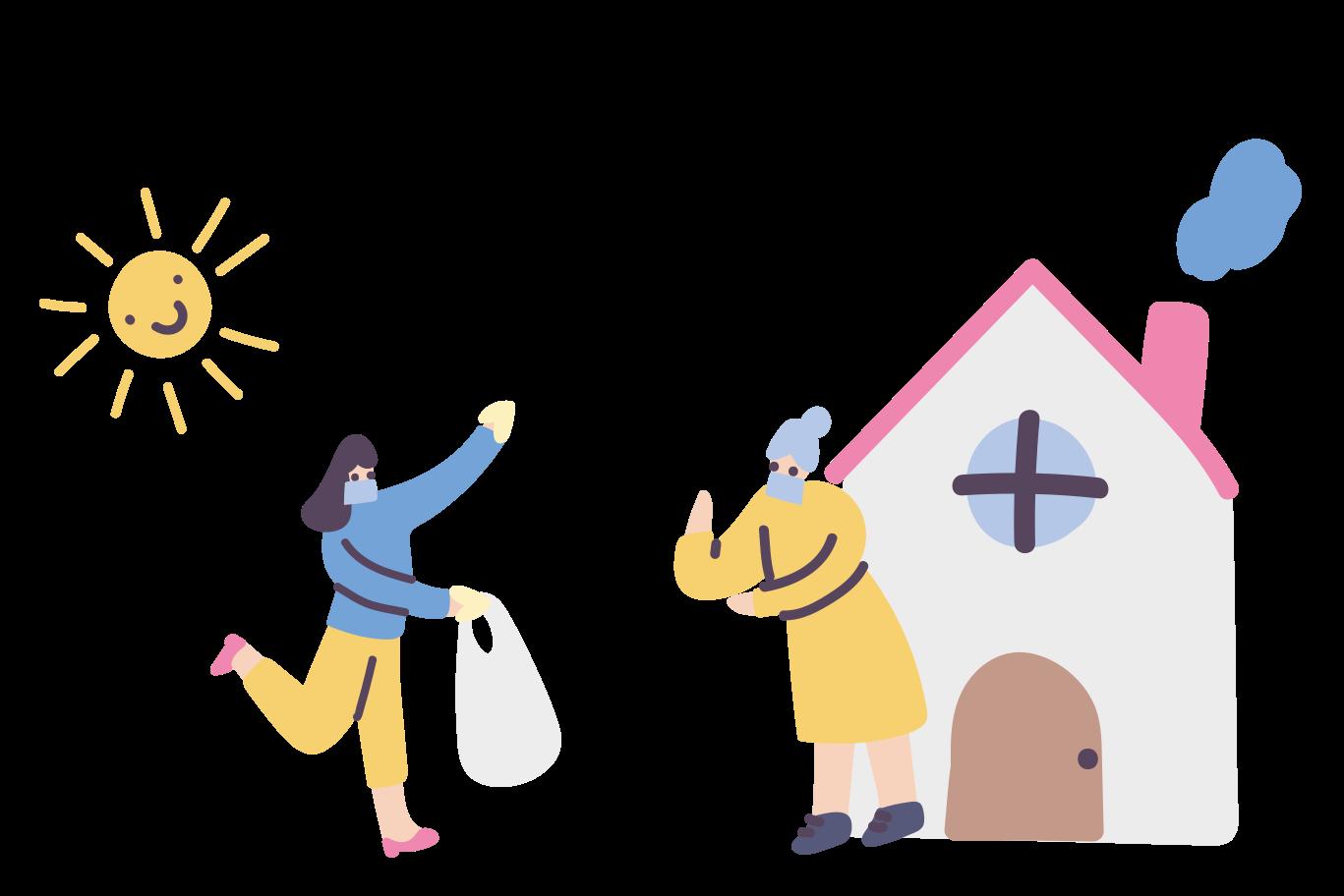 Volunteers for senior citizens Clipart illustration in PNG, SVG