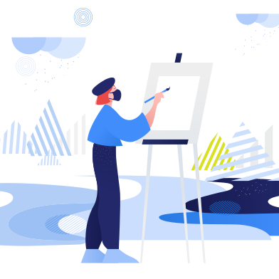 style Girl paints in open air. During pandemic. Plein air images in PNG and SVG | Icons8 Illustrations
