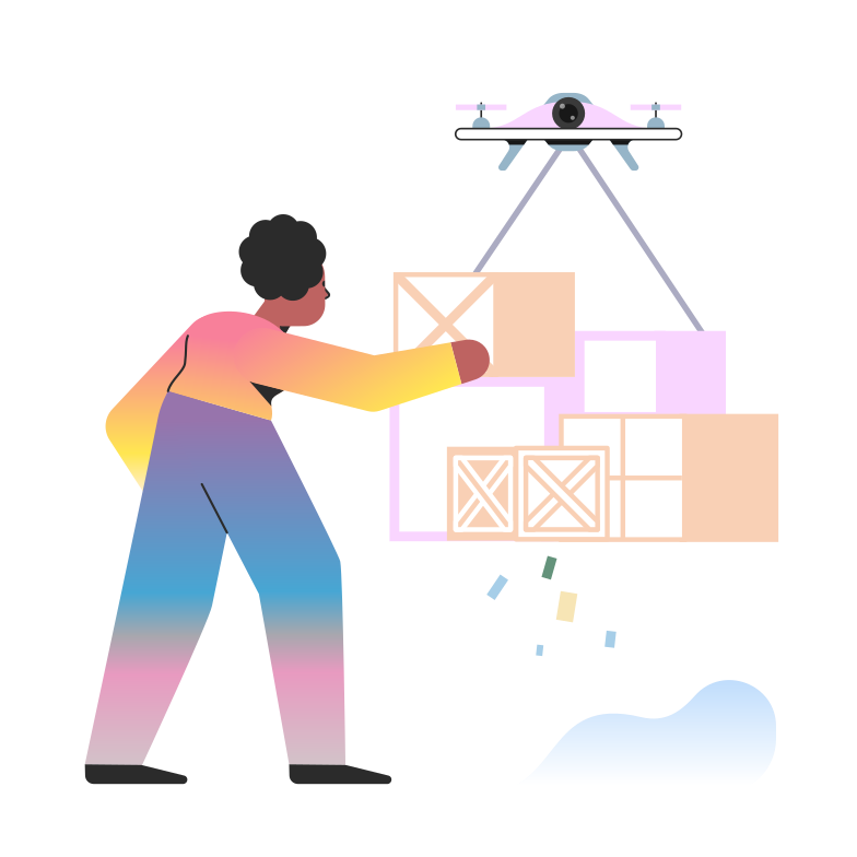 Ilustración de clipart de Drone de entrega en PNG, SVG