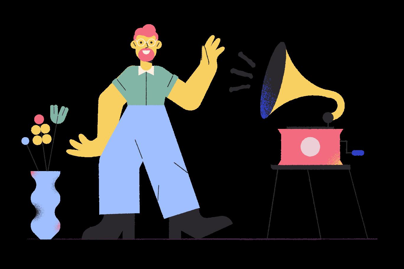 Ilustración de clipart de Música de gramófono en PNG, SVG