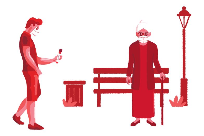 COVID-19 especially dangerous for the elderly Clipart illustration in PNG, SVG